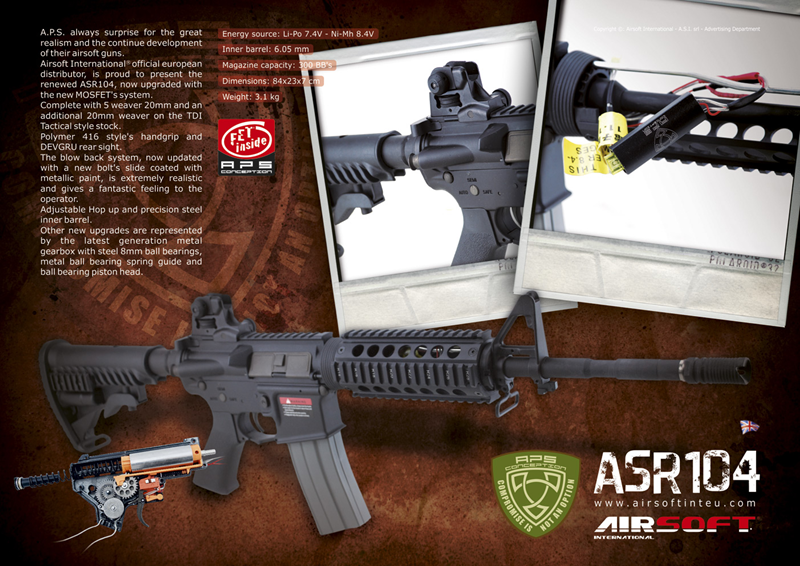 Features : asr series airsoft electric blow back rifle full metal receiver ,180mm ris handguard collapsible stock