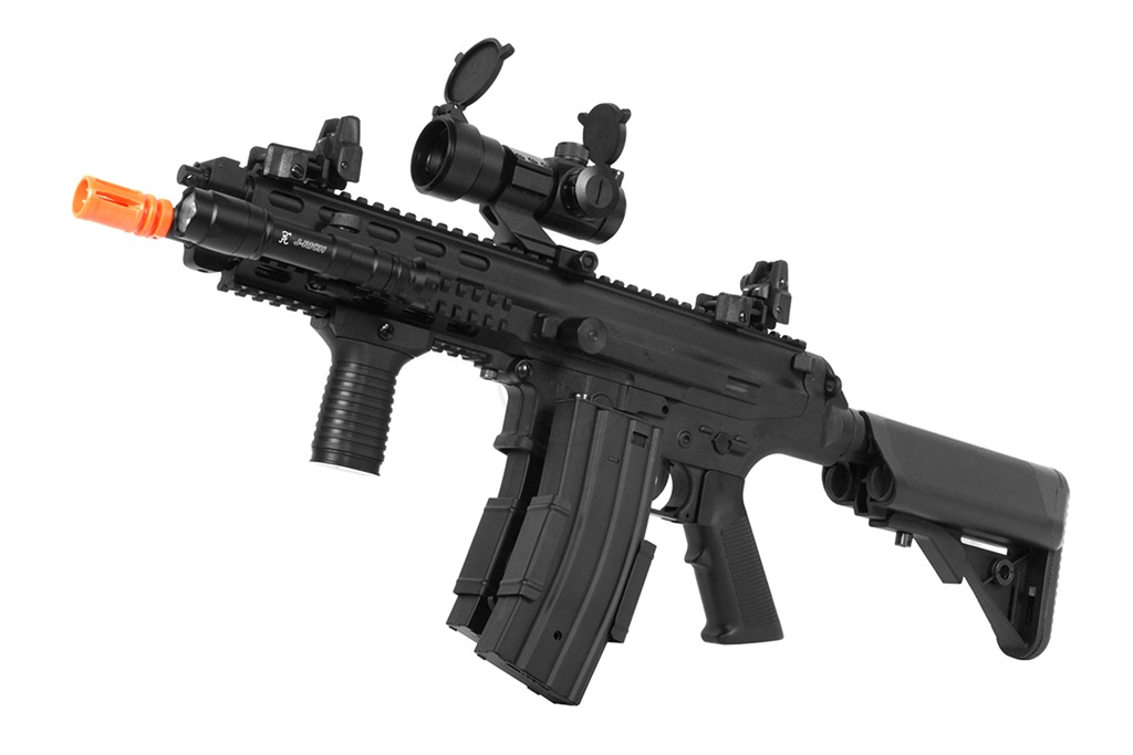 These rifles are full sized versions of popular rifles but just a step up from LPEG or Entry Level Airsoft Guns and incorporates a Metal Gear Box (MGB) as opposed to a Plastic Gear Box (PGB) and a metal body or receiver. Also referred to Middle Powered Electric Rifles (MPEG). MPEG AEG's are a great middle step before the High Powered Airsoft Gun AEG.