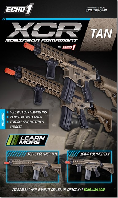Echo1 XCR AEG Fully Licensed Robinson Armament  XCR-C-and-XCR-L-in-Tan-Flyer-by-Echo1-USA_thumb